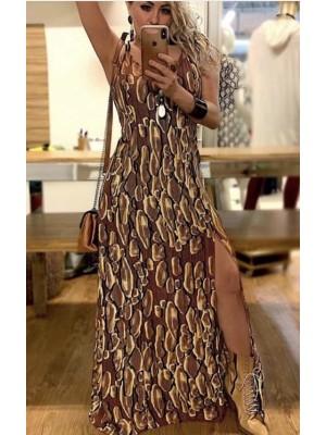 Vestido longo  estampado em viscose com fendas e abertura nas costas
