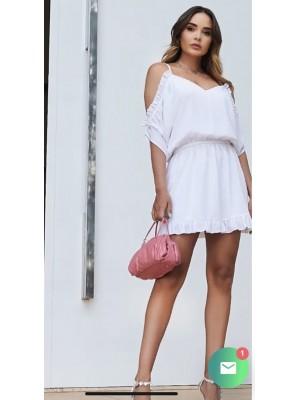Vestido em crepe branco